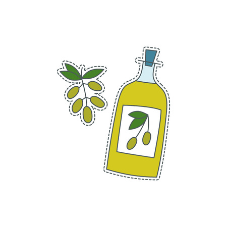 Hand drawn patch badge with Italy symbol - olive oil. Sticker, pin and patch in cartoon 80s-90s comic style