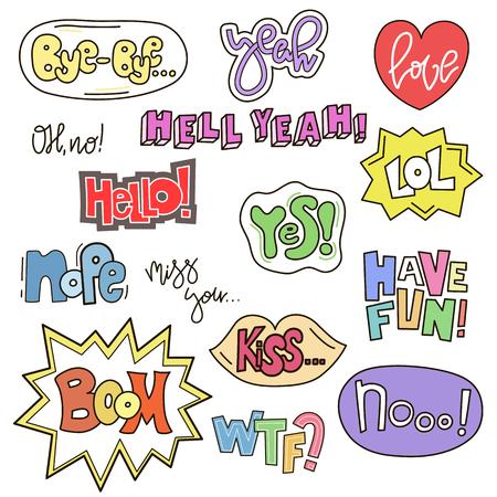 Set di parole carine in stile doodle. Raccolta di fumetti di fumetto. Design comico a mano. Vector distintivi e patch di raccolta