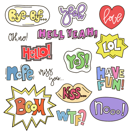 Set of cute words in doodle style. Cartoon speech bubble collection. Handdrawn comic design. Vector badges and patches collection Иллюстрация