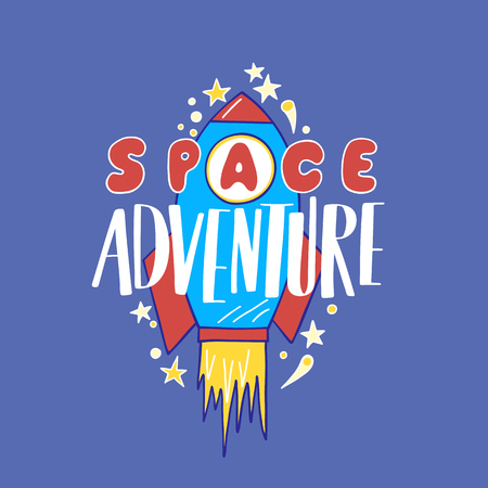 spacesuit: Space travel vector illustration. Cosmos discovery and exploration poster. Doodle style, cartoon design. Cute background for banner, book cover. Galaxy adventure or journey