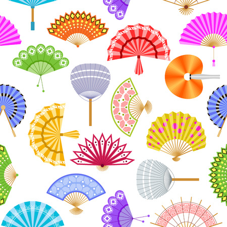 Hand paper fans vector seamless pattern. Illustration