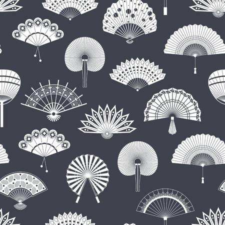 Hand paper fan icons black and white souvenir design illustration.