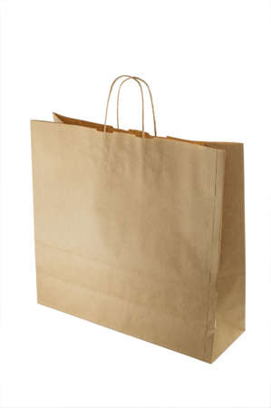 front view of brown paper bag isolated on white with clipping path