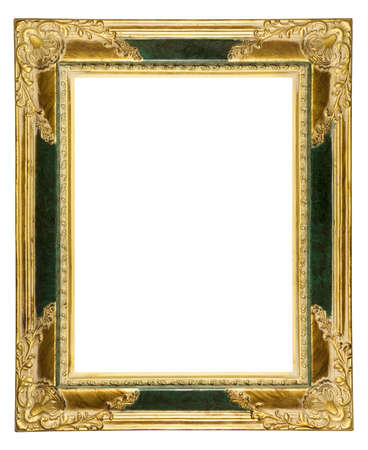 antique gold picture frame isolated on white with clipping path Stock Photo