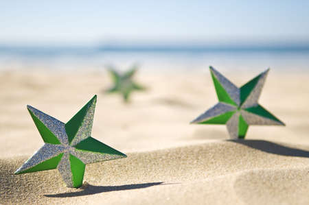 Christmas in the summer, Stars on the beach with a shallow depth of field