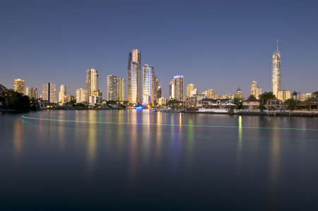 Cityscape of the Gold Coast at dusk. Stock Photo