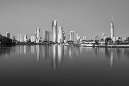 A black and white image of the Gold Coast.