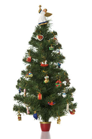 Green christmas tree isolated on a white background, tree full of coloufull ornaments.