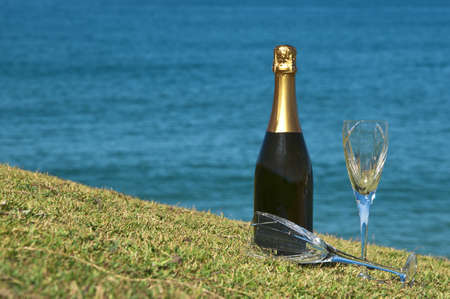headland: Champagne and glasses on the top of a headland overlooking the ocean