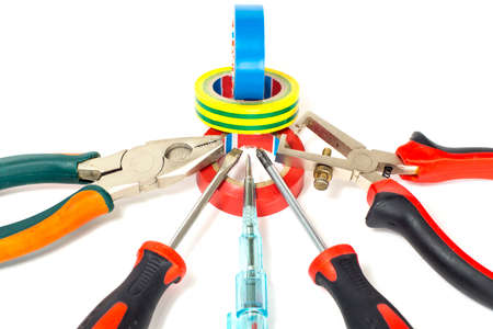 Electrician tools on white background photo