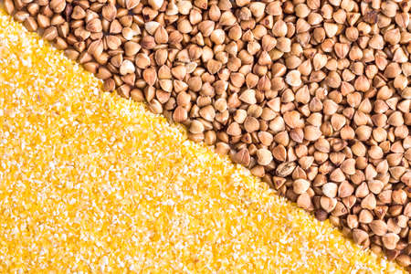 grits: Corn grits and buckwheat background
