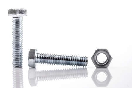 Screws and nut isolated on white photo