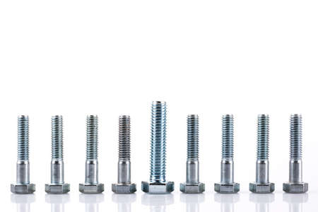 Group of screw-bolts isolated on white photo