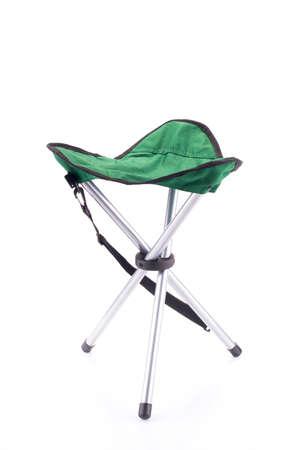 portative: Three-legged chair portatile turista isolato su bianco