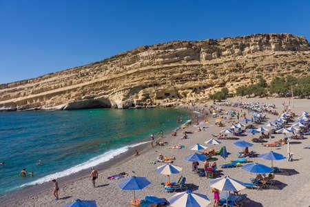 Matala beach in Crete island, Greece