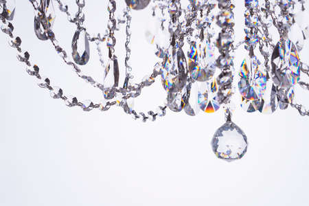 Crystal chandelier close-up on white