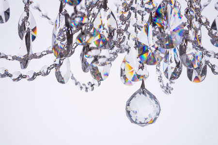 electrolier: Crystal chandelier close-up on white