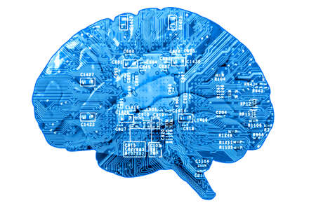 Informational concept: circuit board in form of human brain isolated on white