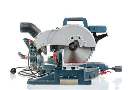 mitre: Mitre saw side view isolated on white