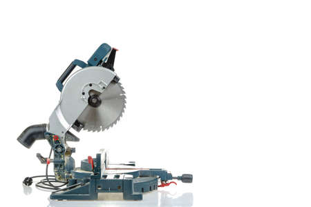 Mitre saw side view isolated on white
