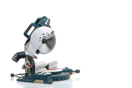 mitre: Mitre saw ready for use isolated on white