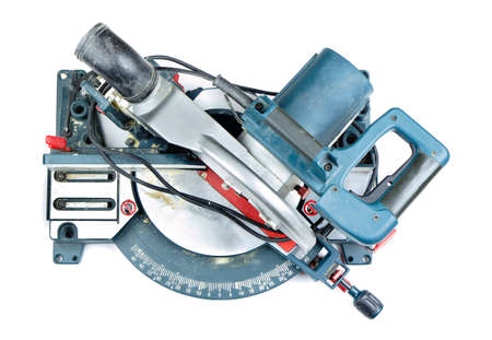 mitre: Mitre saw top view isolated on white Stock Photo