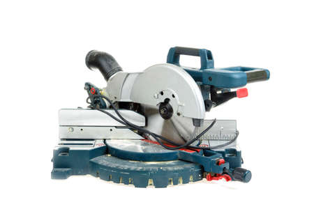 mitre: Mitre saw isolated on white Stock Photo