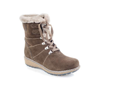 suede: Womans suede winter boot on white Stock Photo