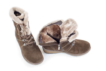 suede: Womans suede winter boots on white