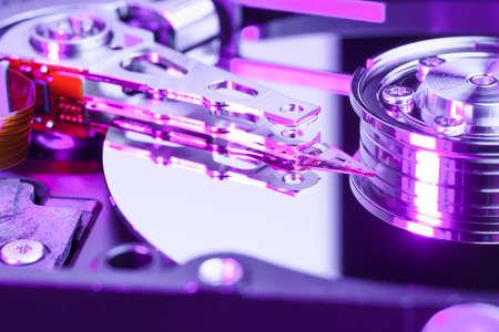 disk drive: Macro shot of a computer hard disk drive