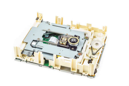 01: Computer cd-rom drive disassembled, white isolated 01