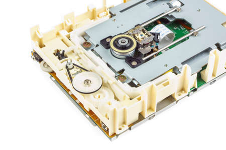 optical disk: Computer cd-rom drive disassembled, white isolated 03 Stock Photo