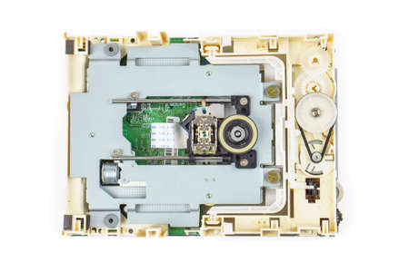 cdrom: Computer cd-rom drive disassembled, white isolated 02 Stock Photo