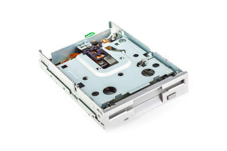 disk drive: Floppy disk drive disassembled, white isolated 01