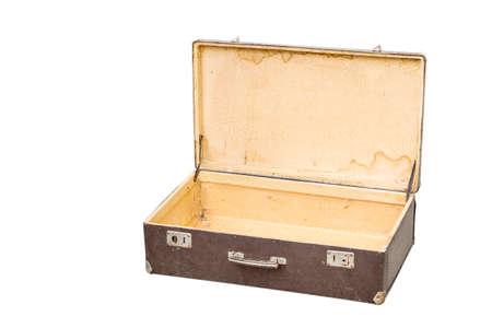 Old opened suitcase isolated on white Zdjęcie Seryjne
