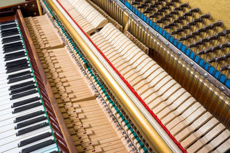 Action mechanics close up inside of an upright piano. Pattern of keys, shanks, hammers and strings.