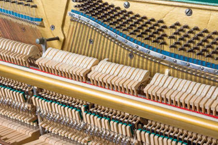 Mechanics details inside of an upright piano