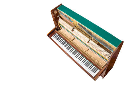 damper: Opened upright piano isolated on white, top view.