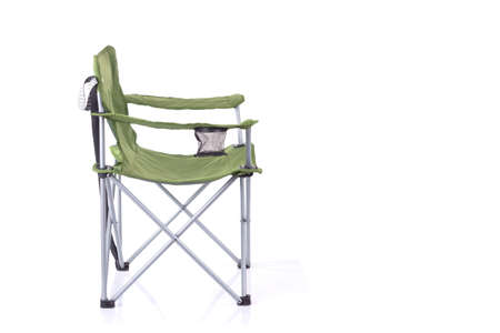 Tourist portable armchair isolated on white, side view