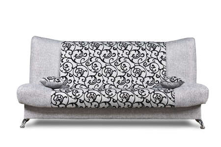 Modern sofa of light grey patterned fabric isolated on white, low-angle front shot. Standard-Bild