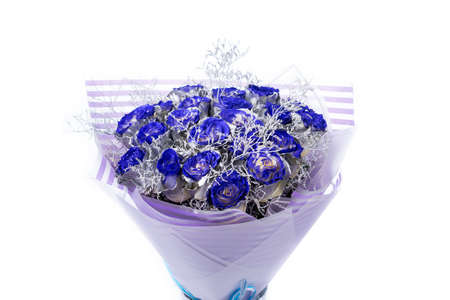 Bouquet of blue roses, silver coloring on the petals, isolated on white background