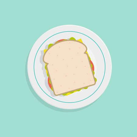 sandwich bread: Sandwich vector illustration. Sandwich top view. Sandwich on plate. Sandwich bread design. Sandwich icon. Sandwich isolated from the background. Sandwich in flat style.
