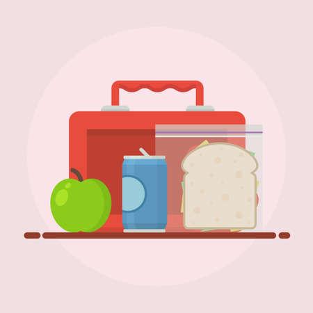 almuerzo: ilustración vectorial almuerzo. concepto de la hora del almuerzo. diseño de la hora del almuerzo. Caja de almuerzo, bocadillo, refresco y una manzana. El almuerzo en el icono de estilo plano. la escuela el almuerzo. Almuerzo niños.