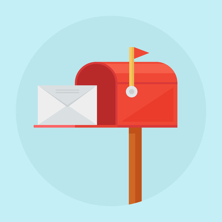 Mail box vector illustration. Mail box icon in the flat style. Mail box post. Mail box isolated from background. Mail box open. Mail box concept. Çizim