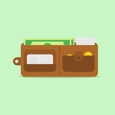 salaries: Wallet open in flat style. Wallet with money. Wallet isolated. Wallet full of money. Wallet icon. Classic open wallet. Wallet vector.