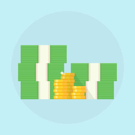 pile of coins: Cash vector illustration.  Stack of cash design. Cash icon in flat style. Pile of cash concept. Stacks of cash with a pile of coins. Pile of cash on a light background. Cash isolated. Illustration