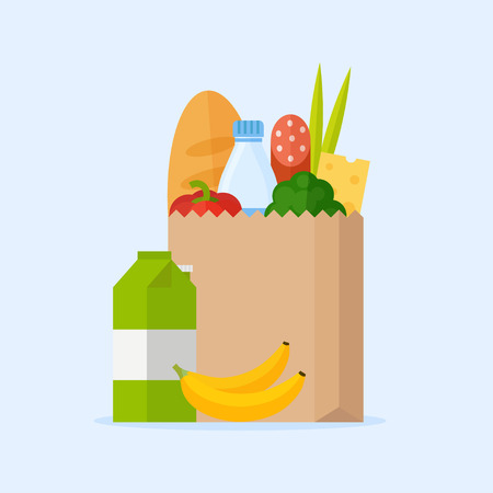 Paper bag with fresh food. Market bag full of products. Shopping bag with natural food. Concept shopping in a market. Grocery bag with vegetables and fruits. Shopping at the grocery store.
