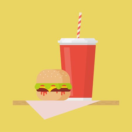 ready: Hamburger and soda vector illustration. Hamburger and soda in flat style. Hamburger and soda concept. Hamburger and soda design. Hamburger vector. Soda vector. Hamburger and soda isolated.