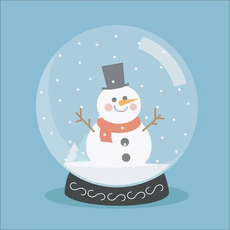 christmas snow globe: Snow globe flat. Christmas snow globe. Vector snow globe isolated. Spherical New Year snow globe. Merry Christmas glass ball with a snowman. Illustration