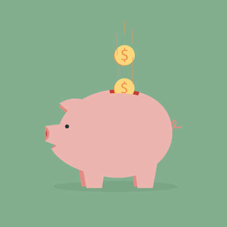 bank icon: Flat piggy bank pig with coin. Symbol pig piggy bank. Vector illustration of pig moneybox. Icon pig piggy bank. Isolated money box with money. Toy money pig piggy bank. Illustration pig piggy bank.